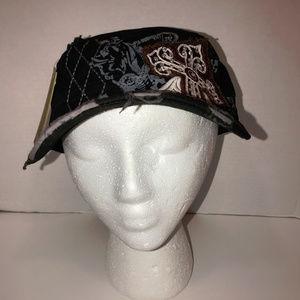 Kbethos Black Cadet Hat With Cross Design